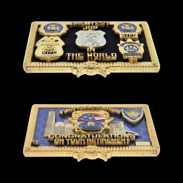 "NYPD RETIREMENT COIN ""THE PILLOW"" ANGLED"