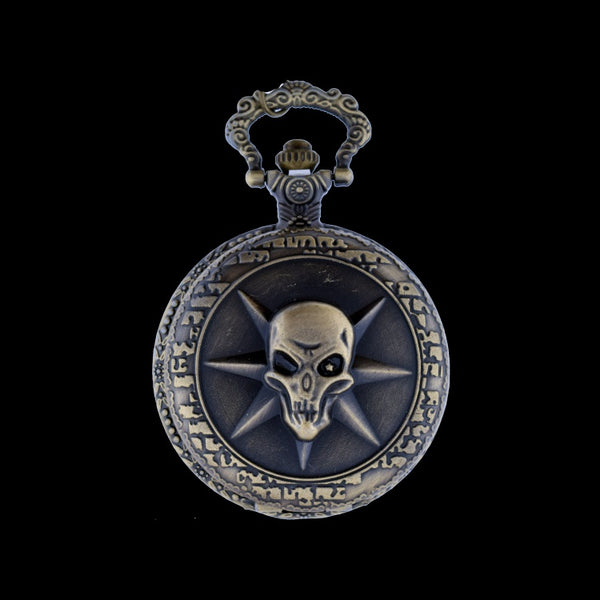 skull brass pocket watch