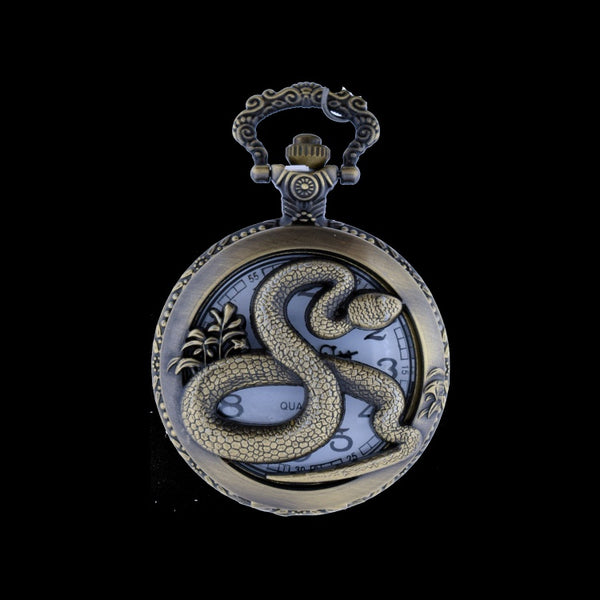 snake brass pocket watch
