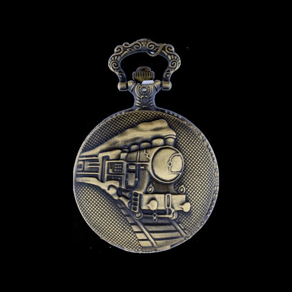 train brass pocket watch