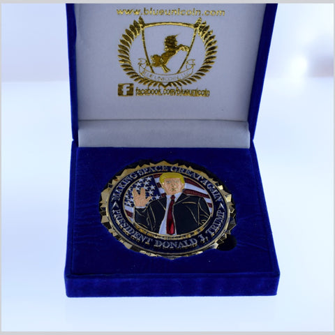 "TRUMP ""Making Space Great Again"" Challenge Coin US Space Force  Blue Velvet Box"