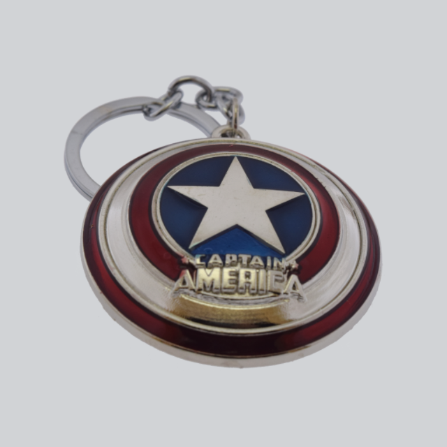 captain america key chain silver