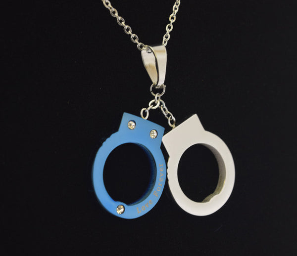 blue stainless steel hand cuff pendant