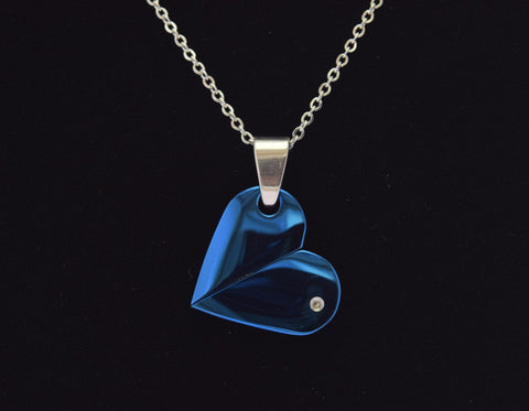 blue heart stainless steel pendant