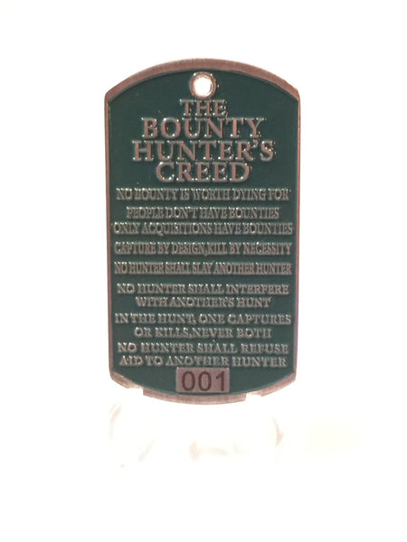 Jango Fett Bounty Hunter dog tag back