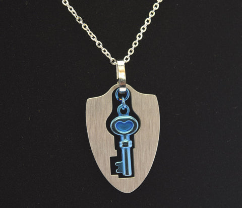 blue stainless steel key pendant