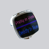 thin blue line compact mirror, pretty in pink