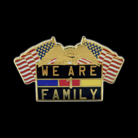 We Are One Family lapel pin Front