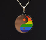 Stainless Steel Rainbow Yin Yang Pendant