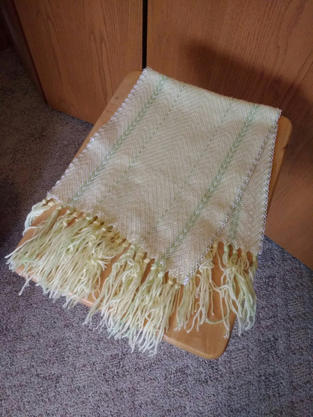 Pale Yellow Hand-woven Table Runner/Dresser Scarf with Light Green accents - MKS Originals - 1