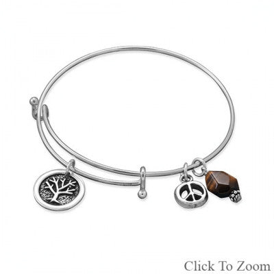 Expandable Multicharm Environmental Bangle Bracelet