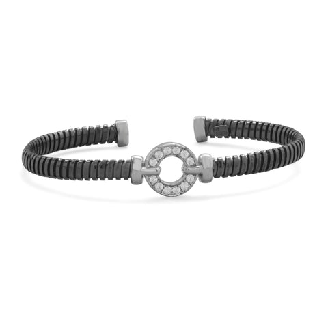 Black Rhodium Plated Cuff Bracelet with CZ Circle
