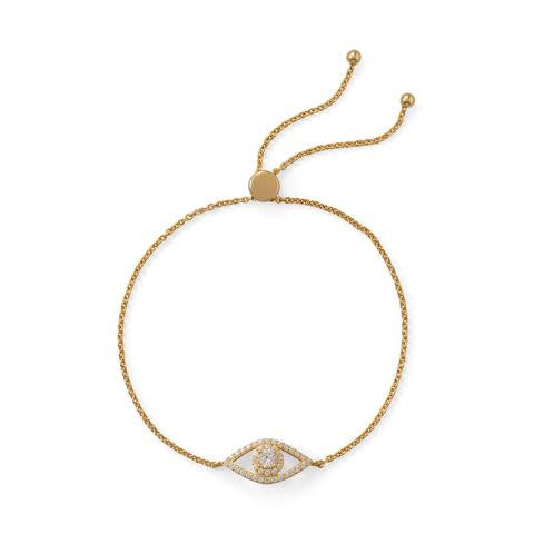 14 Karat Gold Plated Evil Eye Bracelet with CZ