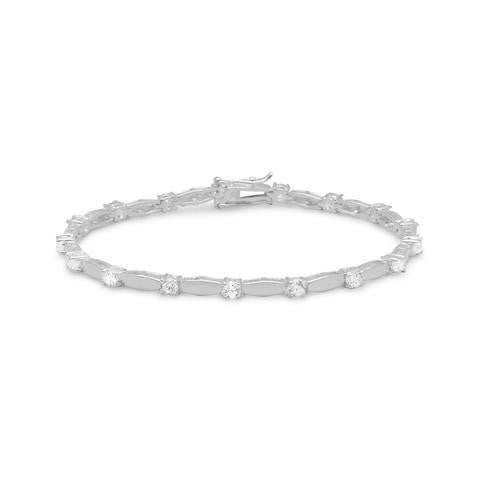 CZ with Silver Bars Bracelet