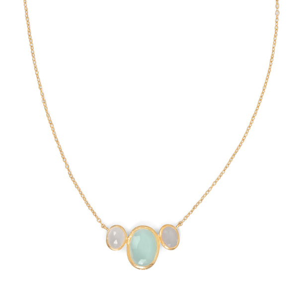 14 Karat Gold Plated Oval Chalcedony Necklace