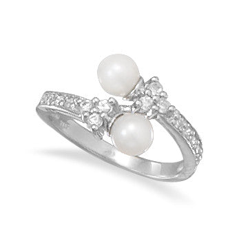 Rhodium Plated Cultured Freshwater Pearl and CZ Wrap Ring