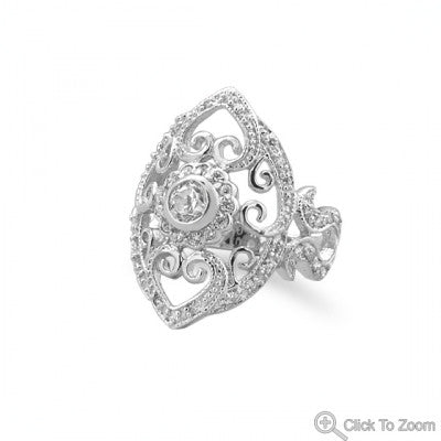 Rhodium Plated Vintage CZ Ring