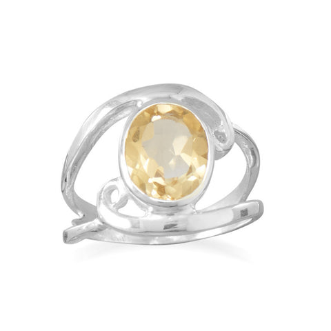 Cut Out Oval Citrine Ring with Swirls