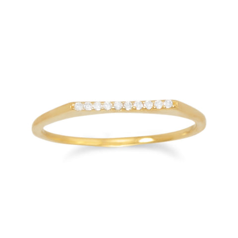 18 Karat Gold Plated Flat Top CZ Ring
