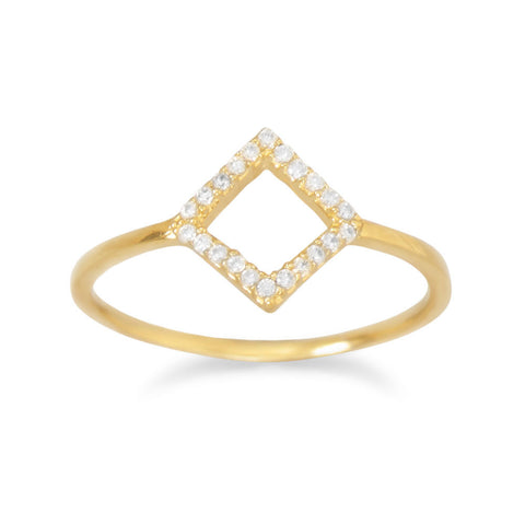 18 Karat Gold Plated Diamond Shape CZ Ring
