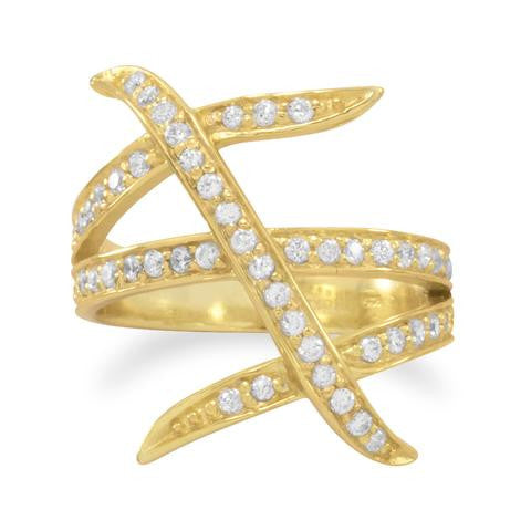 14 Karat Gold Plated Three Row Design CZ Ring - GemiJewels