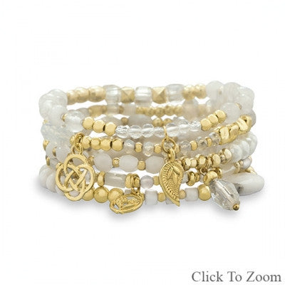 Set of 5 Gold Tone Fashion Stretch Bracelets with White Beads