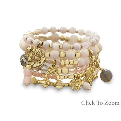 Set of 6 Gold Tone Multicharm Fashion Stretch Bracelets with Pink Beads