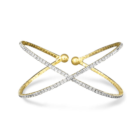 "Gold Tone Criss Cross ""X"" Crystal Fashion Memory Bracelet"