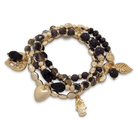 Set of 4 Gold Tone Fashion Stretch Charm Bracelets with Black Crystal