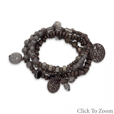 Set of 4 Chocolate Tone Fashion Stretch Bracelets with Gray Crystals