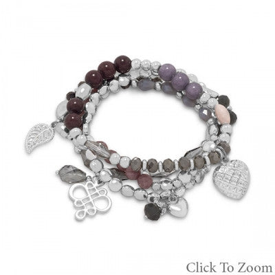 Set of 4 Silver Tone Fashion Multicharm Stretch Bracelets