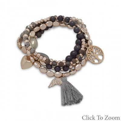 Set of 4 Gold Tone Fashion Multicharm Stretch Bracelets with Grey Beads and Tassle