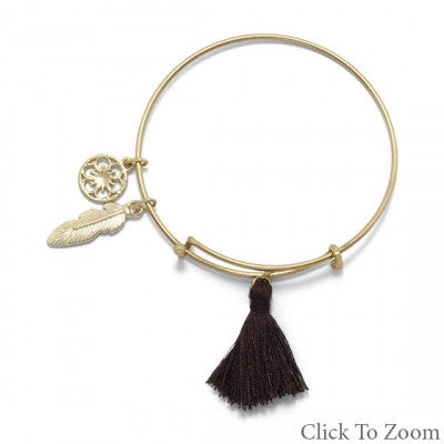 Gold Tone Expandable Brown Tassel Fashion Bangle Bracelet