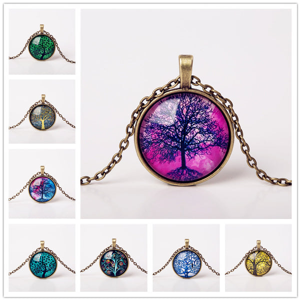 9 Colors Life Tree Pendant Necklace Glass