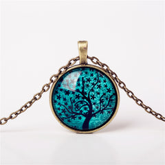 9 Colors Life Tree Pendant Necklace Glass - GemiJewels - 9
