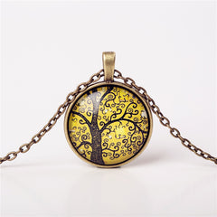 9 Colors Life Tree Pendant Necklace Glass - GemiJewels - 8