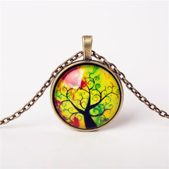 9 Colors Life Tree Pendant Necklace Glass - GemiJewels - 4