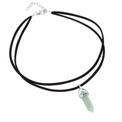 17KM 9 Colors Black Leather Natural Stone Tattoo Choker Necklace - GemiJewels - 7