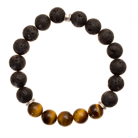 Men's 10mm Black Lava and Golden Brown Tiger's Eye Beads - Stretch Bracelet
