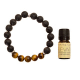 "Men's 10mm Lava and Tiger's Eye Beaded Stretch Bracelet with 5ml ""Elevate"" Essential Oil - Gift Set"