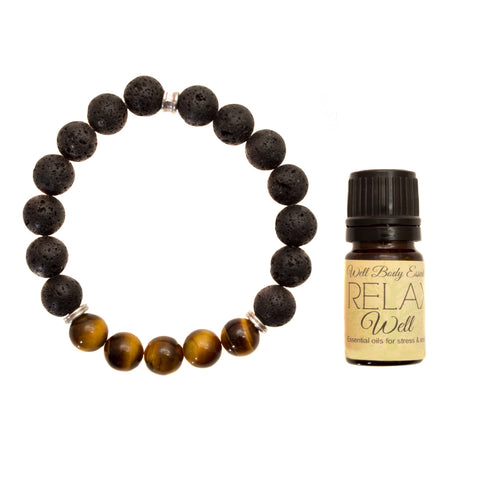 "Men's 10mm Lava and Tiger's Eye Beaded Stretch Bracelet with 5ml ""Relax"" Essential Oil - Gift Set"