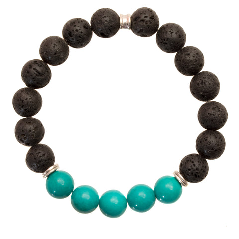 Men's 10mm Black Lava and Turquoise Beads - Stretch Bracelet