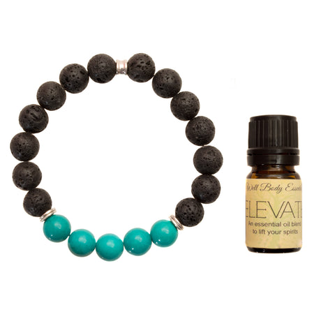 "Men's 10mm Lava and Turquoise Beaded Stretch Bracelet with 5ml ""Elevate"" Essential Oil - Gift Set …"