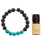 "Men's 10mm Lava and Turquoise Beaded Stretch Bracelet with 5ml ""Relax"" Essential Oil - Gift Set"