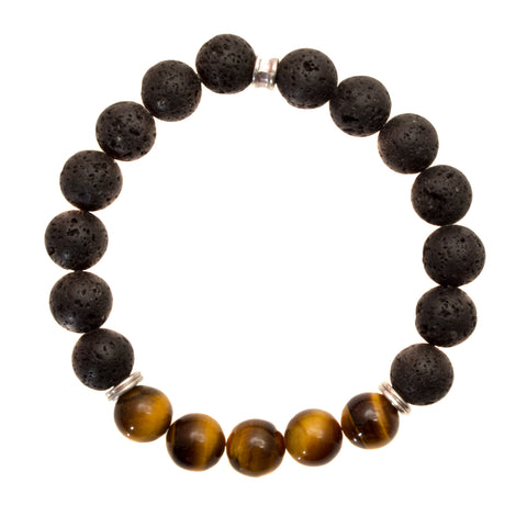 Women's 8mm Black Lava and Golden Brown Tiger's Eye Beads - Stretch Bracelet