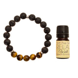 "Women's 8mm Lava and Tiger's Eye Beaded Stretch Bracelet with 5ml ""Relax"" Essential Oil - Gift Set"