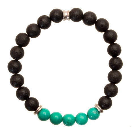 Women's 8mm Black Lava and Turquoise Beads - Stretch Bracelet