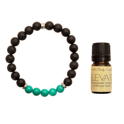 "Women's 8mm Lava and Turquoise Beaded Stretch Bracelet with 5ml ""Elevate"" Essential Oil - Gift Set"