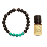 "Women's 8mm Lava and Turquoise Beaded Stretch Bracelet with 5ml ""Relax"" Essential Oil - Gift Set"