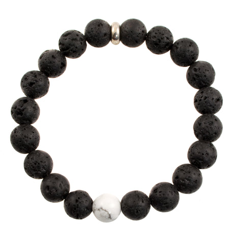 Children's 8mm Black Lava and White Howlite Beads - Stretch Bracelet (Silvertone)